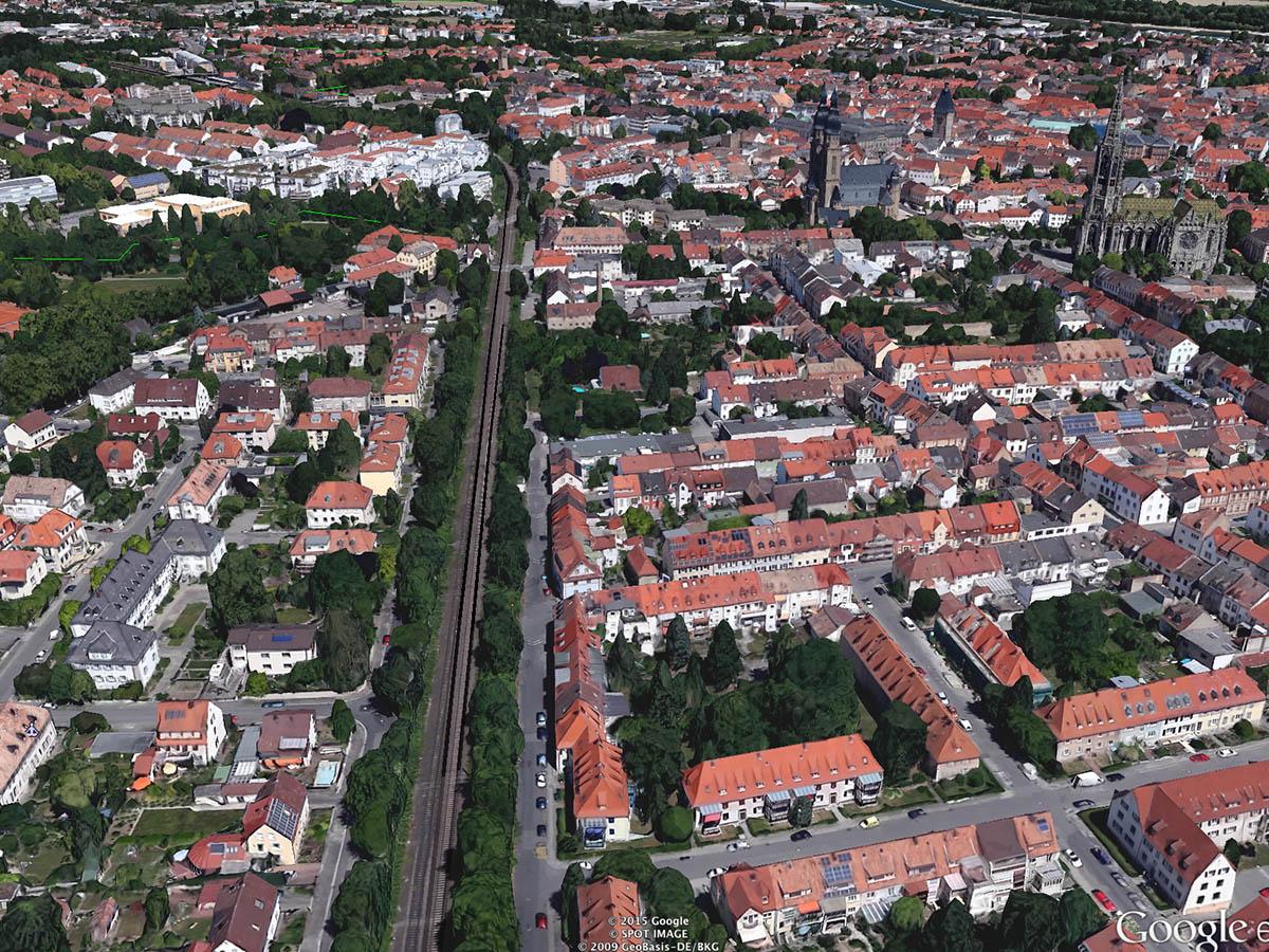 Die Bahntrasse dient als natürlicher Frischluftkorridor für die Innenstadt